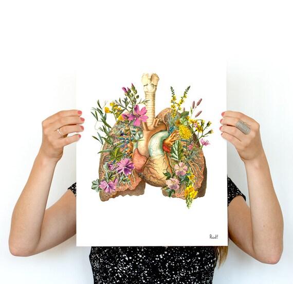 Human Lungs with wild flowerswall art print human Anatomical art prints, wall art gifts for doctor wall art, SKA099WA3