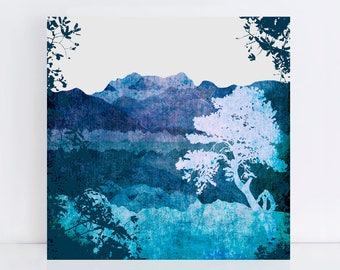"""landscape print special edition ready to hang mounted print 16x16"""" - landscape art, artwork, landscape wall art, blue mountain nature lake"""