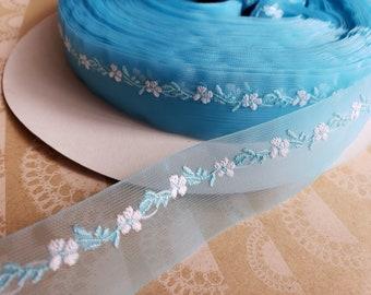 "BLUE Sheer Floral Trim - Crafting Ribbon - 1"" Wide - 14 Yards - LAST OF Spool"