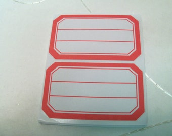 24 Gift Tags, Jar Labels,  Red and White Labels,  Gift wrap, Labels, Sticker