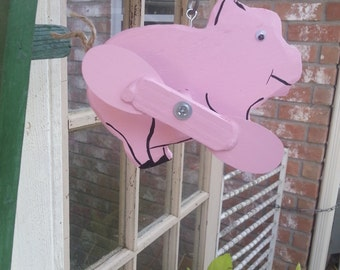 Handcrafted Pink Pig Whirligig,Yard Art,Wood and Metal,Garden Decor