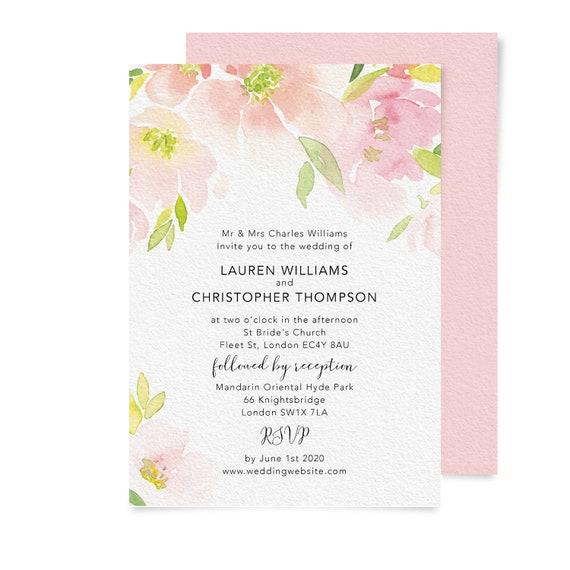 Watercolor wedding invitation template, Simple wedding invitation set, Calligraphy wedding invitation, Engagement invites, Blush Peach Pink