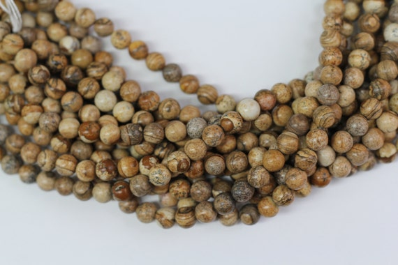 """Picture Jasper 8mm smooth round beads 16"""" length full strand"""