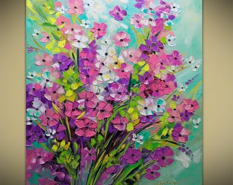 Spring Fields, Flowers Oil Flower Bouquet ABSTRACT ORIGINAL Painting Contemporary Modern Textured Palette Knife by Lana Guise