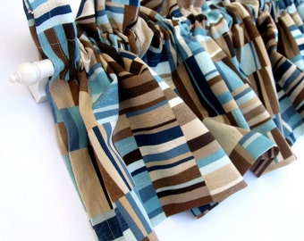 FOCUS Valance Curtains Brown Tan Blue Teal Stripes  53 inches wide Kitchen Window Valance Curtain Bay Window Panel