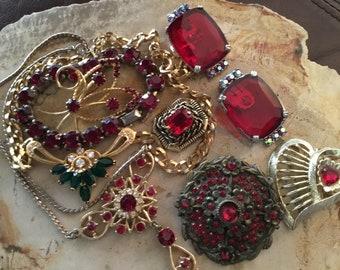 Large lot RED Rhinestone necklaces earrings & bracelet and pins