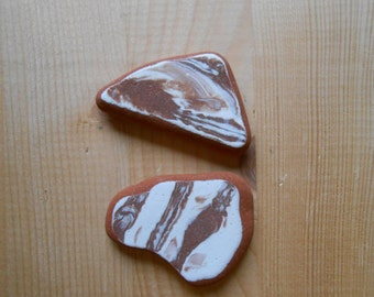 Genuine sea pottery, Marbled brown and white beach pottery  Sea pottery  supplies 2 pieces   lotto137