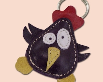 Cute little purple chicken animal leather keyring - FREE shipping