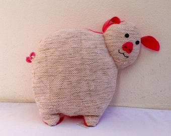 Handwoven pig, pillow, plush,softie