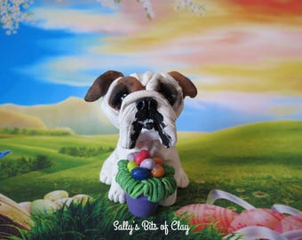 English Bulldog dog with Easter Eggs READY to SHIP! One of a Kind original sculpture hand sculpted by Sally's Bits of Clay