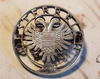 REPUBLIK Vintage 1936 Hand Sawed Austrian Coin Brooch