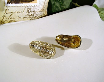 Vintage 80's Swarovski Clear Pave Channel Set Bold Statement Clip Earrings