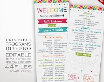 Wedding Program Template - Rainbow Wedding Program - Printable DIY Rainbow Chevron Wedding Invitation Editable Bright Wedding Invite