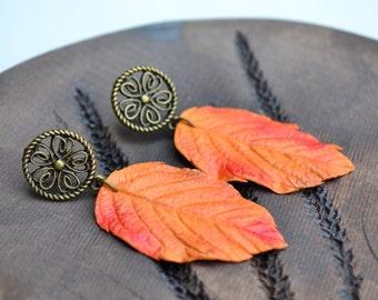 Autumn leaves earrings. Autumn jewelry. Fall leaves leafes earrings. Natural earrings. Yellow leaves earrings jewelry. Polymer clay earrings