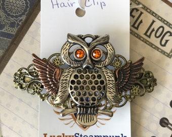 Steampunk, Hair Clip, Steampunk Hair Clip, Hair Accessories, Rhinestones, Filagree Clip, Bling Hair Accessories