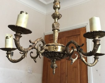 Antique  brass chandelier, ceiling light.
