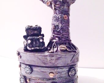 Made to order 3D sculpture decorative steampunk engagement ring box by Felicianation