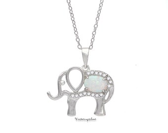 925 Sterling Silver White Opal Elephant Necklace,Elephant Necklace,Good Luck Charm,Lucky Charm