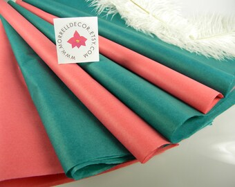 Coral and Teal Tissue Paper | Wedding Gift Tissue | 48 Sheets | DIY Tissue Flower Supplies | Craft Supplies | Gift Packaging