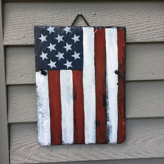 Fourth of July decorations, American Flag painted slate, Patriot decor, Fourth Of July Door Decoration, July 4th door hanger, American Flag