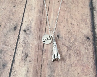 Rocket ship initial necklace - rocket ship jewelry, outer space jewelry, spaceship necklace, astronaut jewelry, silver spaceship pendant