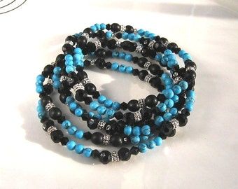 Black Crystal and Turquoise Stretch Bracelet Set Black Stretch Bracelet Set Turquoise Stretch Bracelets