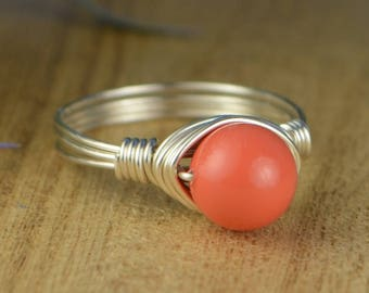 Sale! Coral Colored Swarovski Crystal Pearl Wrapped Ring-Sterling Silver, Yellow or Rose Gold Filled Wire - Size 4 5 6 7 8 9 10 11 12 13 14