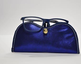 Bright Blue padded glasses holder