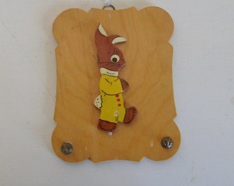 Vintage folk art Easter bunny or rabbit in yellow romper wall hook wood hand made nursery folk art modern farmhouse decor