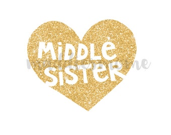 Middle Sister Gold Glitter Heart DIY Iron on T Shirt Transfer Iron on Decal (Middle Sister Gold Glitter Heart)