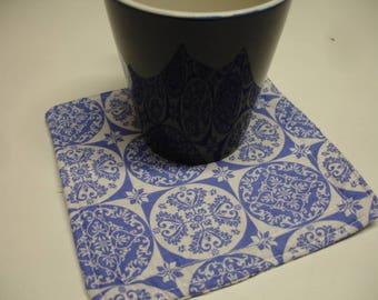 Cup Carpet Mug Rug Cobalt Tile Scroll