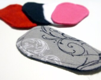 Reusable Cloth ULTRATHIN lay-in wingless pantyliners - Assorted set of 5 in Cotton Flannel