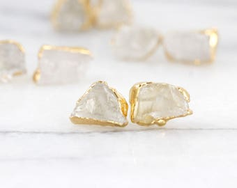 herkimer diamond earrings | quartz studs | raw crystal studs | raw quartz earrings | april birthstone studs | april birthstone earrings