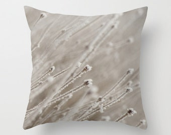 Winter Hoarfrost Pillow Case, Grey Decorative Cushion Cover, Handmade in Canada, Frosted Branches, Interior Designer, Gift for Aunt, Sister