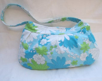 Clearance! Vintage sheet Buttercup Bag - Blue, green and white flowers
