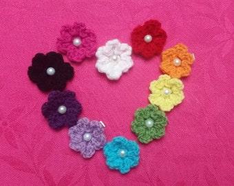 Set of 10 Crocheted Flower Hair Clips