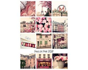 2018 Desk Calendar 2018 Calendar 2018 Paris calendar 2018 Photo Calendar gift for her 2018 Paris desk calendar desktop calendar girly pink