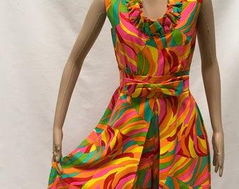 Hawaiian Palazzo Pants Jumpsuit Size M/L Lotus Fashions Maxi Hostess Gown Vintage