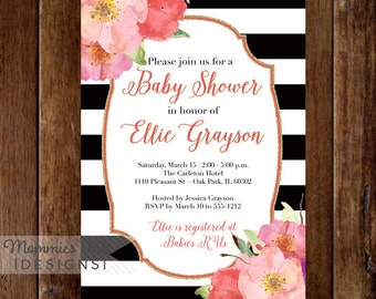 Watercolor Flowers Baby Shower Invitation, Black and White Stripes Baby Shower Invitation, Watercolor Floral, Pink and Coral Flowers, Modern