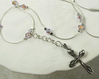 SALE Cross Necklace, Silver Cross, Violet Crystal