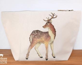 Reindeer Canvas Wash Bag, Large Zipper Pouch, Makeup Bag, Toiletry Bag, Accessory Bag, Christmas Bag, Deer Print