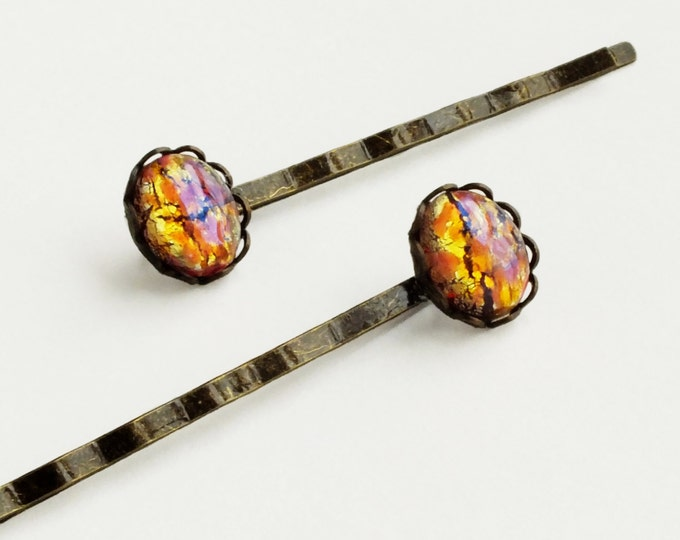Opal Hair Pins Pink Hair Pins Peach Opal Bobby Pins Small Vintage Pink Yellow Glass Harlequin Fire Opal Hair Pins Iridescent Glass