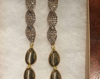 The Middle Path earrings- rhinestone chandelier earrings and Brass Cowrie shells