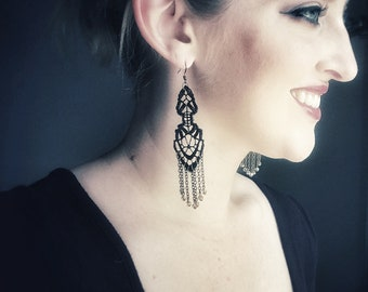 Lace earrings // Intricate Cascade // Black lace, Swarovski crystals, statement long earrings