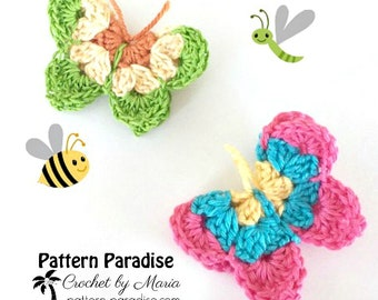 Crochet Pattern for Butterfly Motif, Butterfly Applique, Butterflies for Decorations, Crochet Butterflies