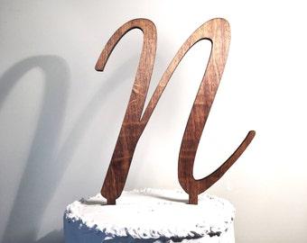 Wooden Wedding Cake Topper: Letter N, Monogram Cake Topper, Rustic Cake Topper, Handmade Cake Topper
