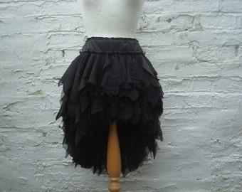 Black Hi lo skirt Tattered skirt Upcycled gown Gothic wedding skirt Woodland Boho Mori heigh low skirt ruffled rags
