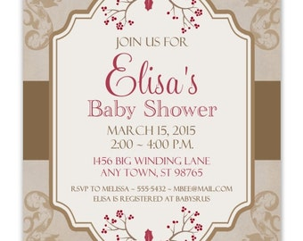 Sweet Baby Shower Invitation, Christmas Berries Shower Invite, CUSTOM 4x6 or 5x7 size, YOU Print