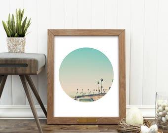 LA photo, Los Angeles print, downloadable art, LA Freeway photograph, palm trees, blue, California decor, circle print, Myan Soffia