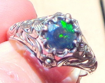 Sz 10,Black Welo Opal, Sterling Silver Ring, Ethiopian Black Opal Ring,Red,Yellow,Green Fire,Edwardian Style,Ornate Ring,Mystical Stone